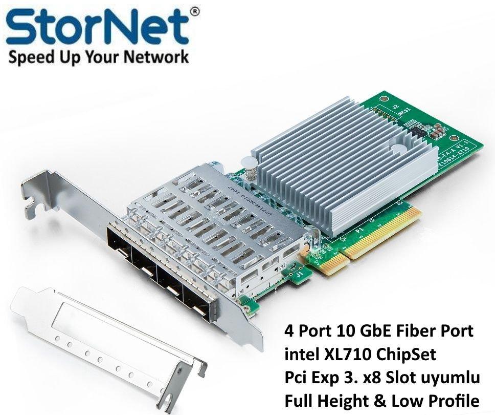4 Port 10 GbE Fiber Ethernet Kartı Intel X710DA4 ÇipSet StorNET