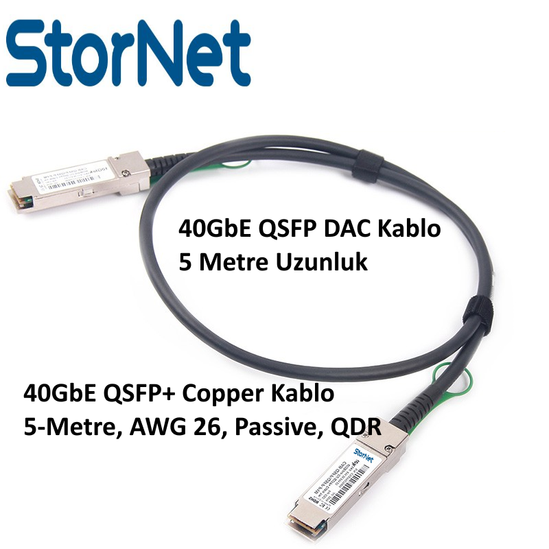 5 METRE QSFP+ TO QSFP+ 40GBE STORNET DAC KABLO
