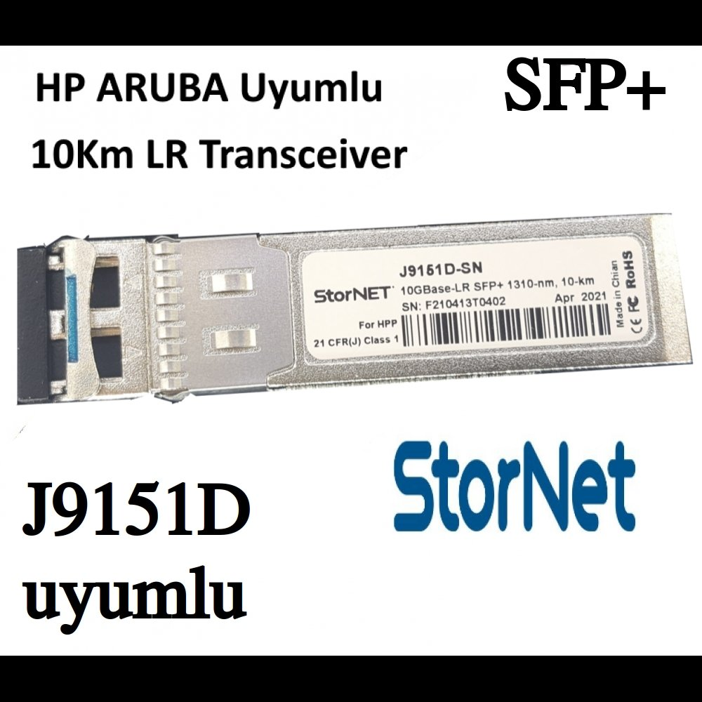 J9151D HP ProCurve ARUBA Uyumlu SFP+ 10Gbps SMF, 1310nm 10KM  LR Transceiver - StorNET