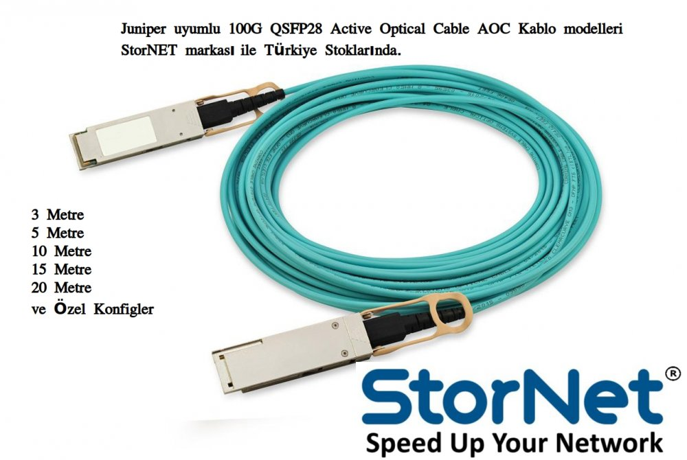 Juniper uyumlu 100G QSFP28 to QSFP28 AOC Kablo